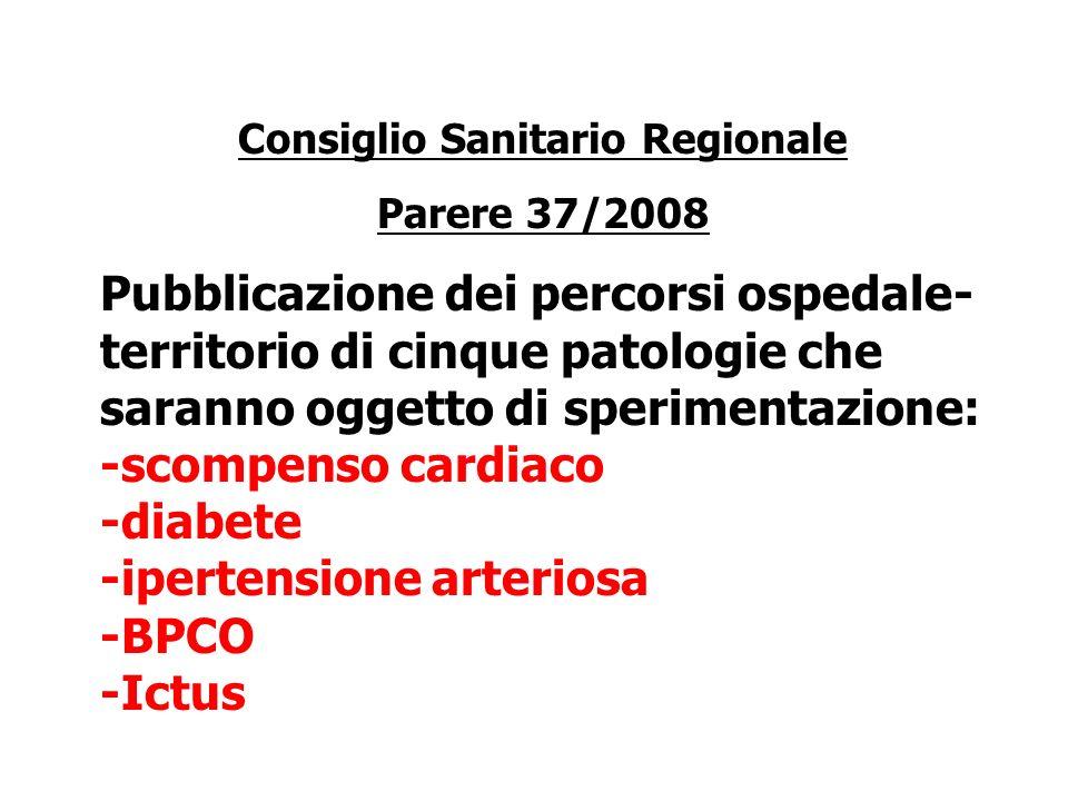 Consiglio Sanitario Regionale Parere 37/2008 Pubblicazione dei percorsi ospedale- territorio di cinque patologie che saranno oggetto di sperimentazione: -scompenso cardiaco -diabete -ipertensione arteriosa -BPCO -Ictus