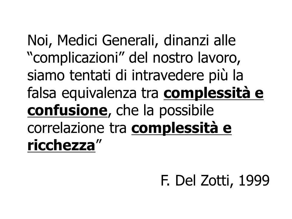 Noi, Medici Generali, dinanzi alle complicazioni del nostro lavoro, siamo tentati di intravedere più la falsa equivalenza tra complessità e confusione, che la possibile correlazione tra complessità e ricchezza F.
