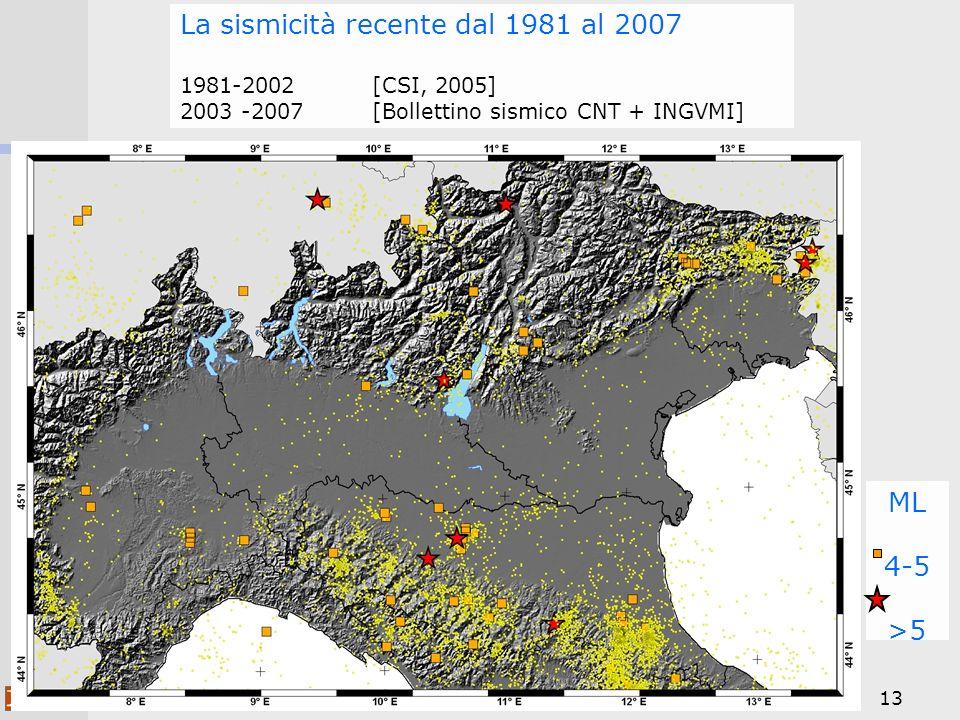 13 ML 4-5 >5 La sismicità recente dal 1981 al 2007 1981-2002 [CSI, 2005] 2003 -2007 [Bollettino sismico CNT + INGVMI]