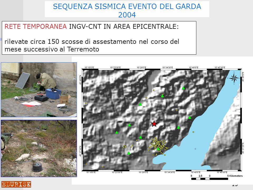 15 SEQUENZA SISMICA EVENTO DEL GARDA 2004 RETE TEMPORANEA INGV-CNT IN AREA EPICENTRALE: rilevate circa 150 scosse di assestamento nel corso del mese successivo al Terremoto