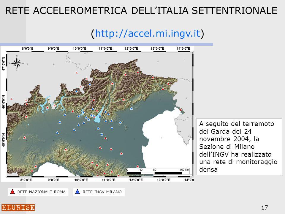 17 RETE ACCELEROMETRICA DELLITALIA SETTENTRIONALE (http://accel.mi.ingv.it) A seguito del terremoto del Garda del 24 novembre 2004, la Sezione di Milano dellINGV ha realizzato una rete di monitoraggio densa RETE NAZIONALE ROMARETE INGV MILANO
