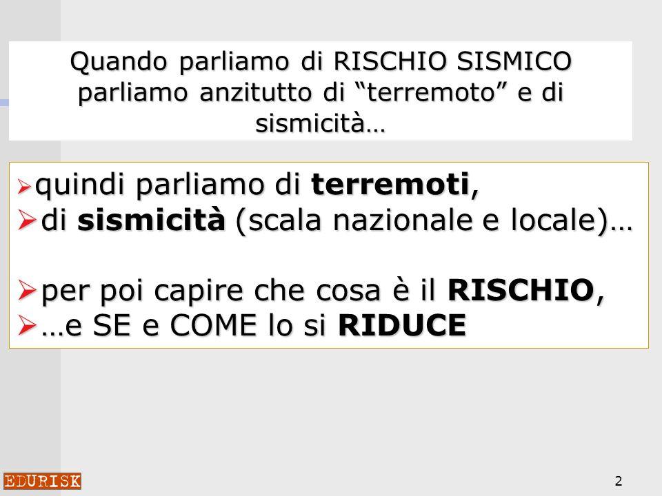2 Quando parliamo di RISCHIO SISMICO parliamo anzitutto di terremoto e di sismicità… quindi parliamo di terremoti, quindi parliamo di terremoti, di sismicità (scala nazionale e locale)… di sismicità (scala nazionale e locale)… per poi capire che cosa è il RISCHIO, per poi capire che cosa è il RISCHIO, …e SE e COME lo si RIDUCE …e SE e COME lo si RIDUCE