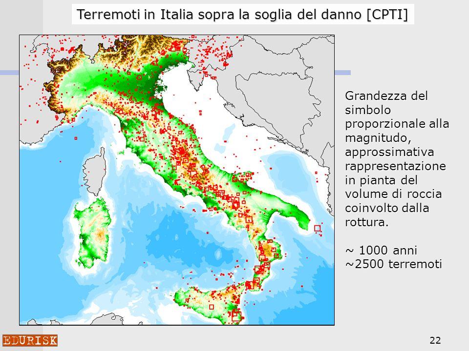 22 Terremoti in Italia sopra la soglia del danno [CPTI] Grandezza del simbolo proporzionale alla magnitudo, approssimativa rappresentazione in pianta
