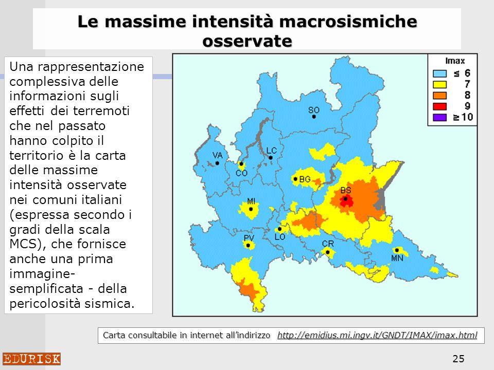 25 Carta consultabile in internet allindirizzo http://emidius.mi.ingv.it/GNDT/IMAX/imax.html Le massime intensità macrosismiche osservate Una rappresentazione complessiva delle informazioni sugli effetti dei terremoti che nel passato hanno colpito il territorio è la carta delle massime intensità osservate nei comuni italiani (espressa secondo i gradi della scala MCS), che fornisce anche una prima immagine- semplificata - della pericolosità sismica.