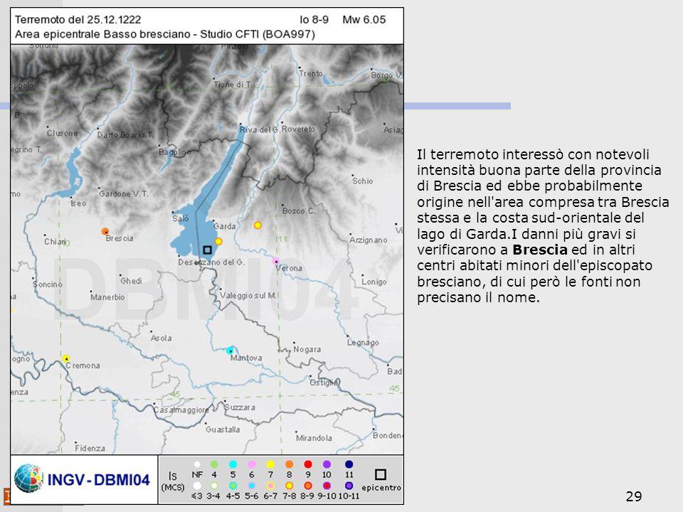 29 Il terremoto interessò con notevoli intensità buona parte della provincia di Brescia ed ebbe probabilmente origine nell'area compresa tra Brescia s
