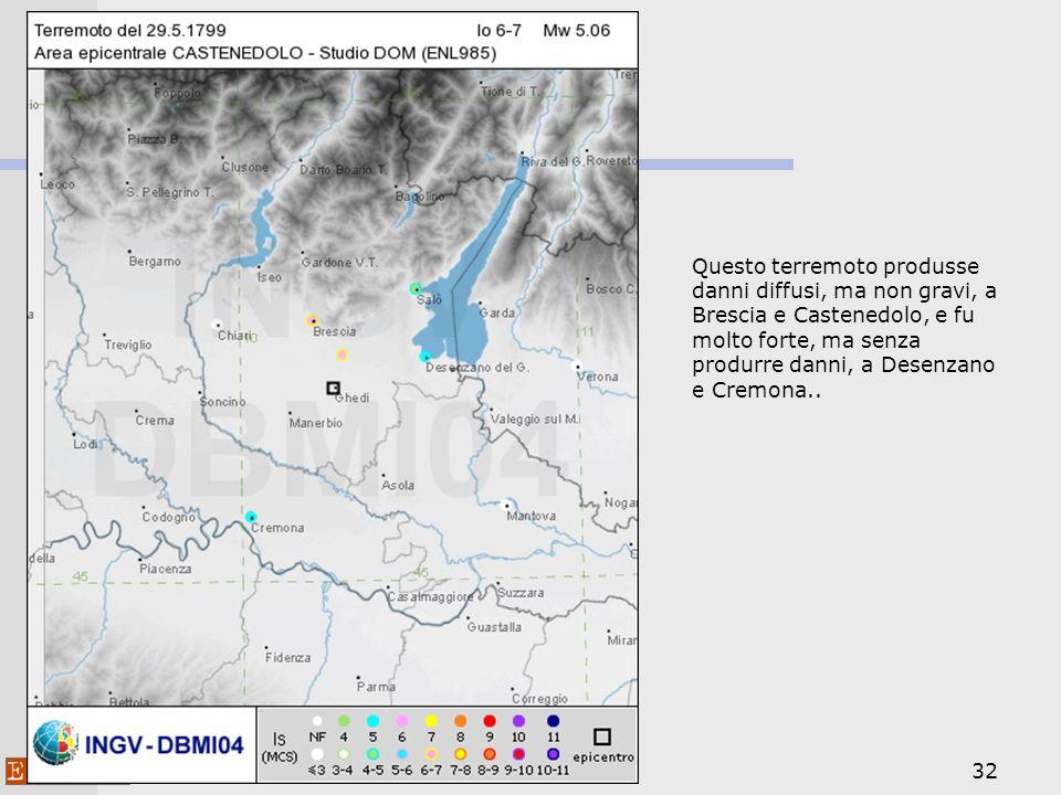 32 Questo terremoto produsse danni diffusi, ma non gravi, a Brescia e Castenedolo, e fu molto forte, ma senza produrre danni, a Desenzano e Cremona..