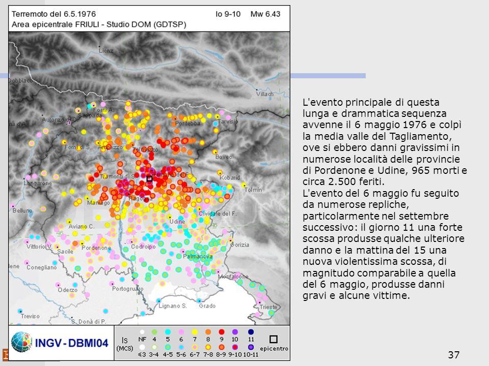 37 L evento principale di questa lunga e drammatica sequenza avvenne il 6 maggio 1976 e colpì la media valle del Tagliamento, ove si ebbero danni gravissimi in numerose località delle provincie di Pordenone e Udine, 965 morti e circa 2.500 feriti.