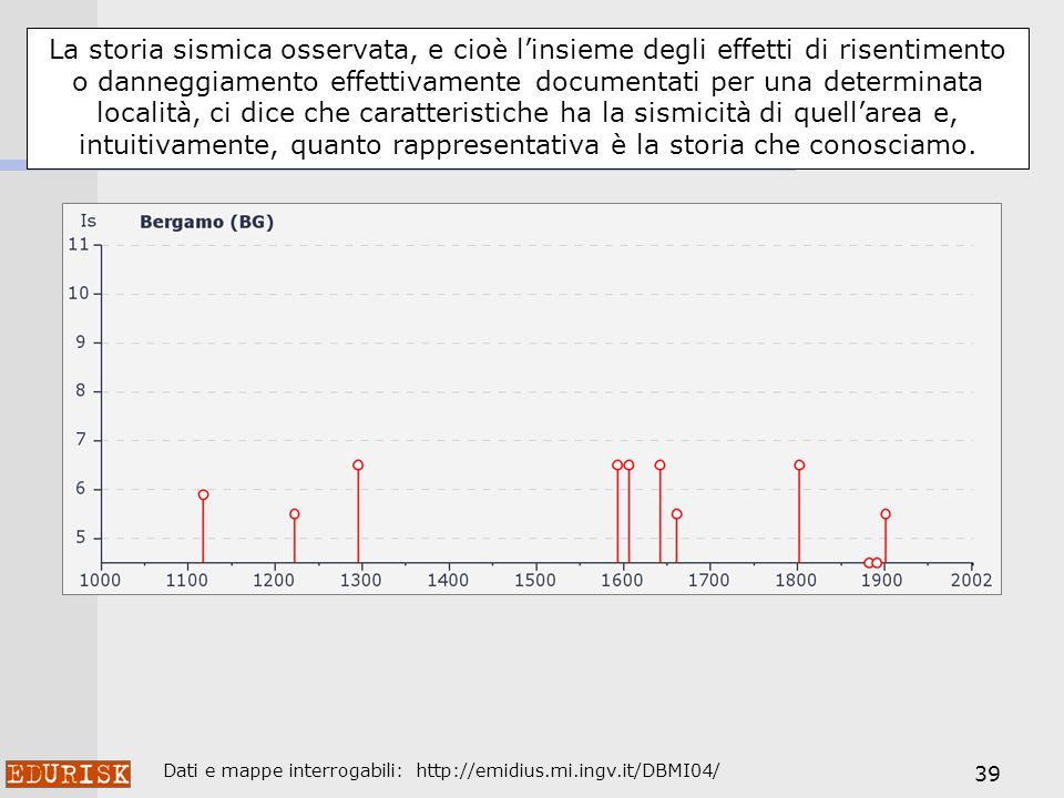 39 La storia sismica osservata, e cioè linsieme degli effetti di risentimento o danneggiamento effettivamente documentati per una determinata località, ci dice che caratteristiche ha la sismicità di quellarea e, intuitivamente, quanto rappresentativa è la storia che conosciamo.