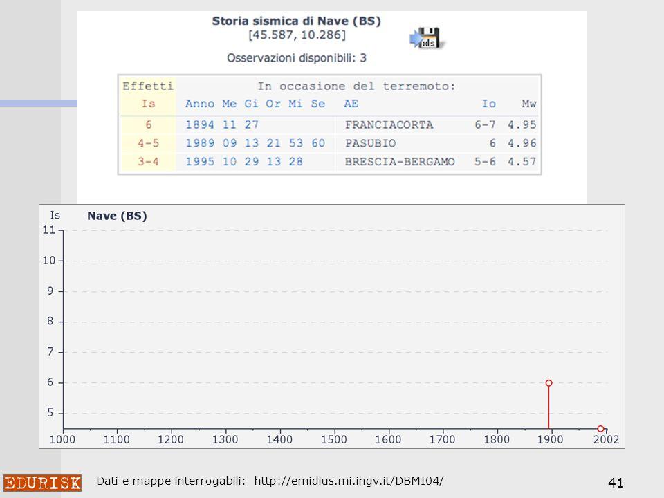 41 Dati e mappe interrogabili: http://emidius.mi.ingv.it/DBMI04/
