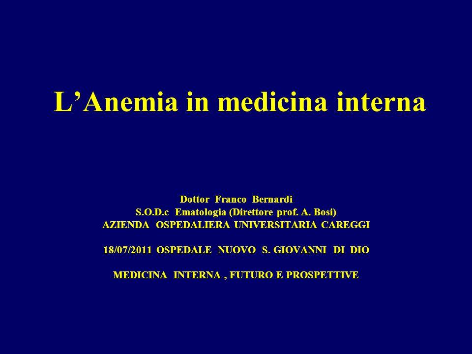 LAnemia in medicina interna Dottor Franco Bernardi S.O.D.c Ematologia (Direttore prof.