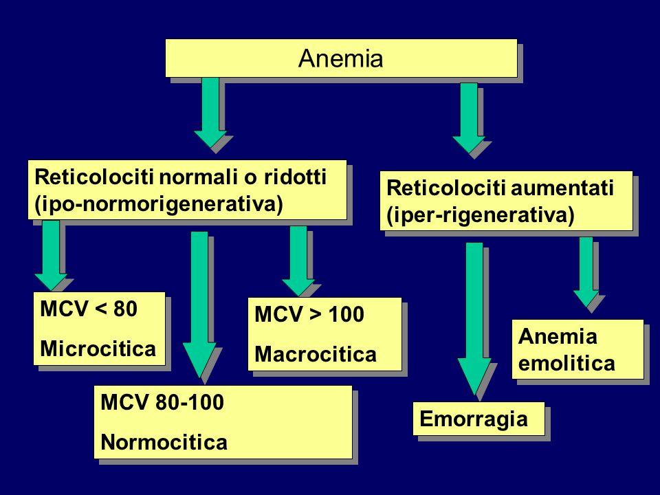 Anemia Reticolociti normali o ridotti (ipo-normorigenerativa) Reticolociti aumentati (iper-rigenerativa) MCV < 80 Microcitica MCV < 80 Microcitica MCV 80-100 Normocitica MCV 80-100 Normocitica MCV > 100 Macrocitica MCV > 100 Macrocitica Emorragia Anemia emolitica