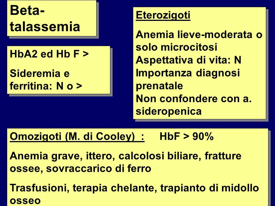 Beta- talassemia HbA2 ed Hb F > Sideremia e ferritina: N o > HbA2 ed Hb F > Sideremia e ferritina: N o > Eterozigoti Anemia lieve-moderata o solo microcitosi Aspettativa di vita: N Importanza diagnosi prenatale Non confondere con a.