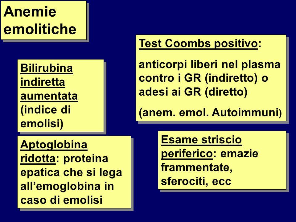Bilirubina indiretta aumentata (indice di emolisi) Aptoglobina ridotta: proteina epatica che si lega allemoglobina in caso di emolisi Test Coombs positivo: anticorpi liberi nel plasma contro i GR (indiretto) o adesi ai GR (diretto) (anem.