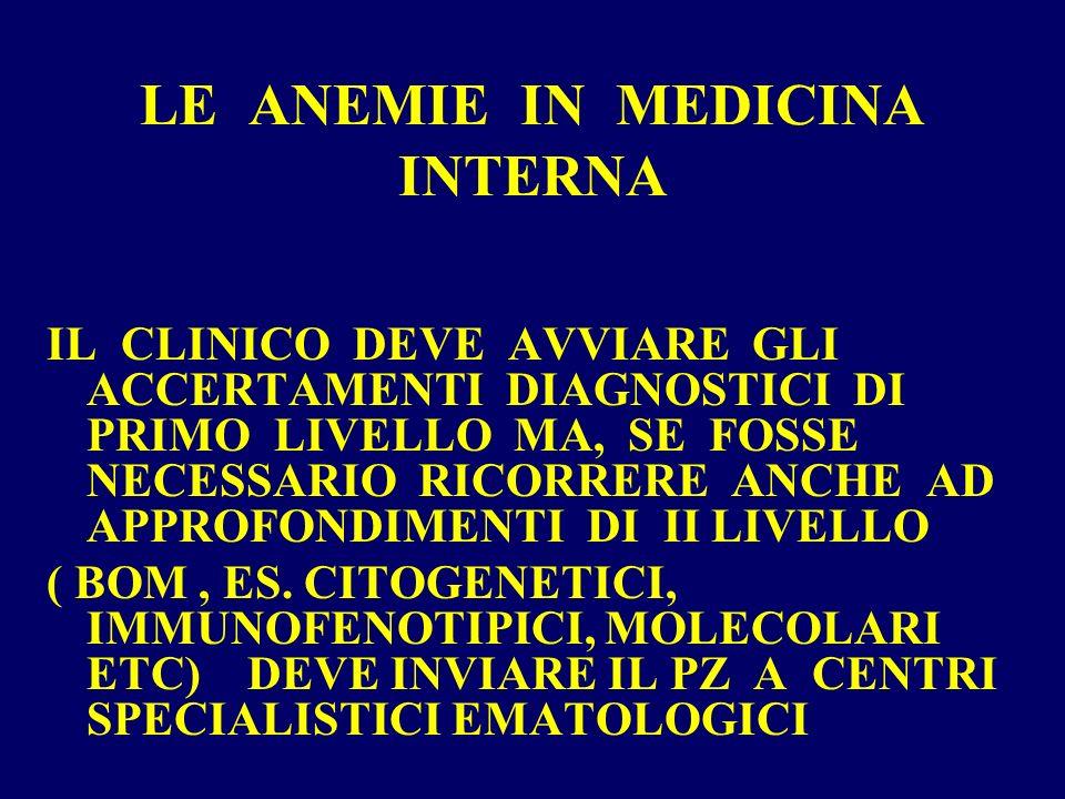 Anemia = sintomo Ricercare le cause Non accontentarsi di una diagnosi generica di anemia Ricercare le cause Non accontentarsi di una diagnosi generica di anemia