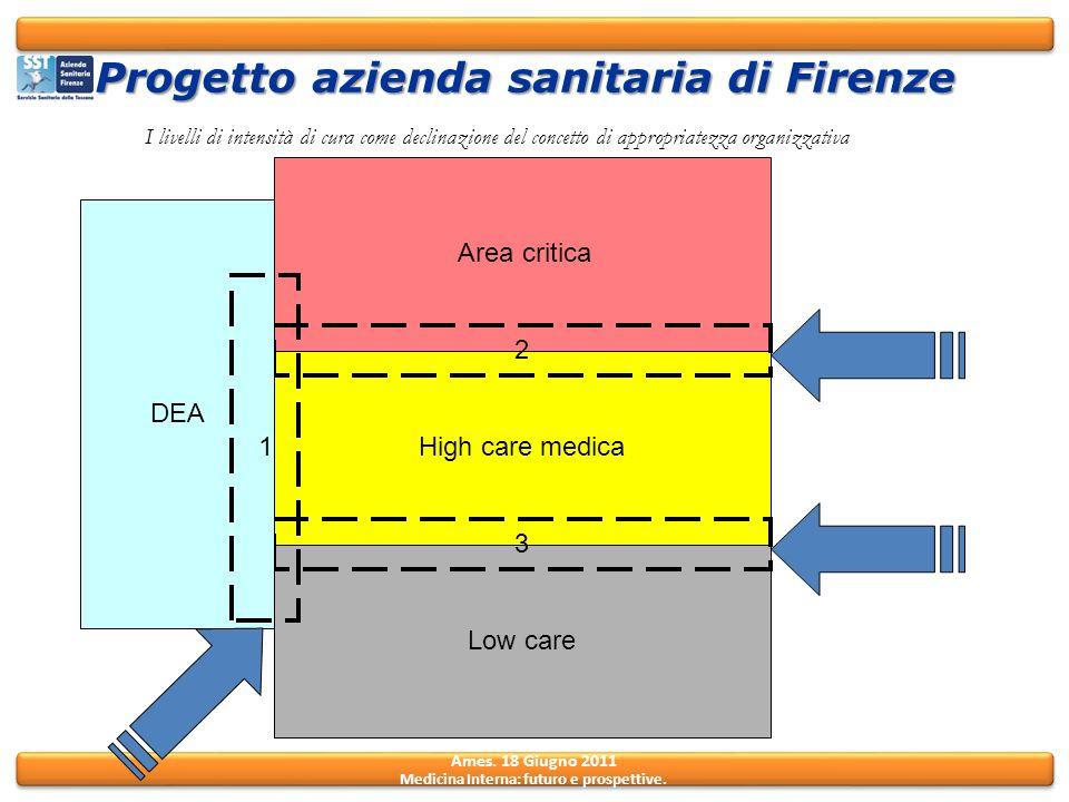 Ames. 18 Giugno 2011 Medicina Interna: futuro e prospettive. High care medica Area critica Low care 2 3 DEA I livelli di intensità di cura come declin