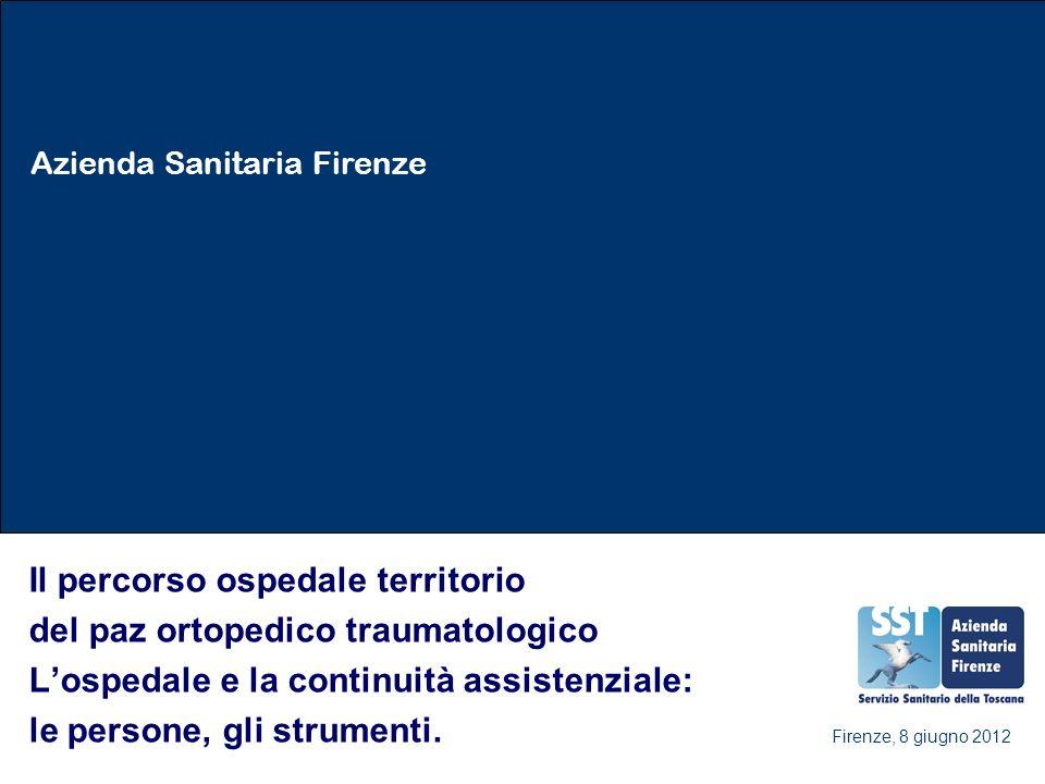 Azienda Sanitaria Firenze Il percorso ospedale territorio del paz ortopedico traumatologico Lospedale e la continuità assistenziale: le persone, gli strumenti.