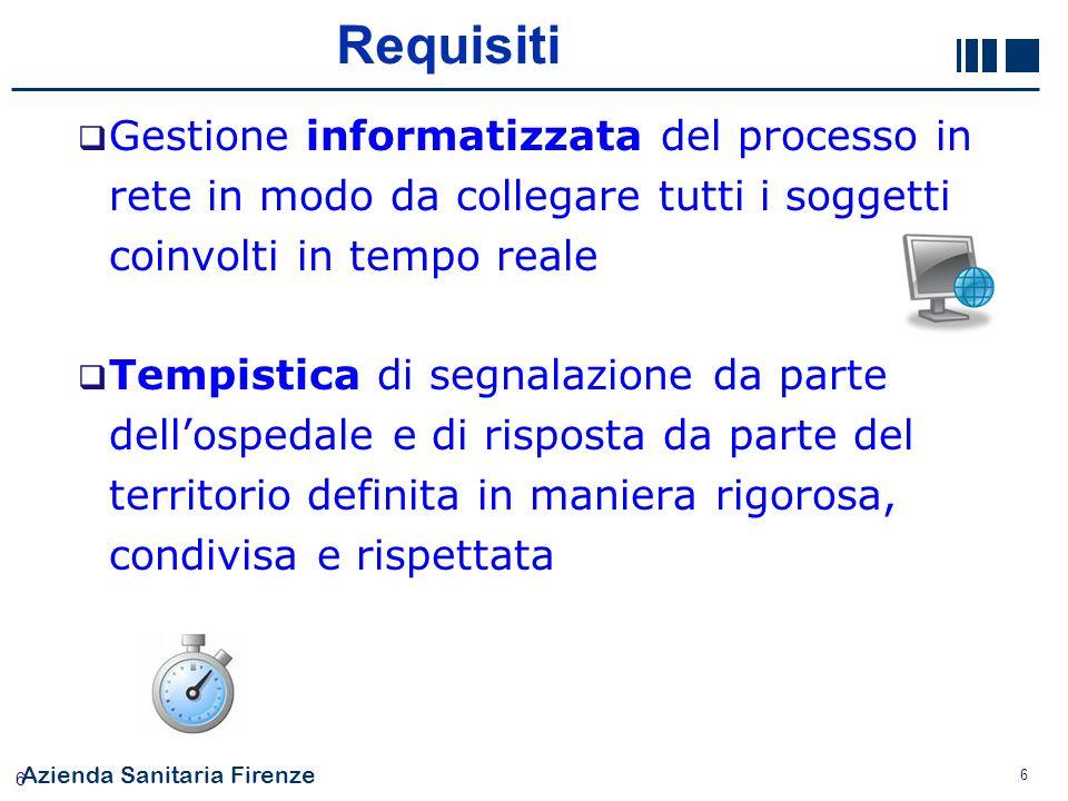 Azienda Sanitaria Firenze 6 6 Gestione informatizzata del processo in rete in modo da collegare tutti i soggetti coinvolti in tempo reale Tempistica d