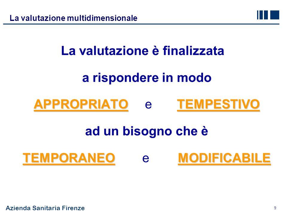 Azienda Sanitaria Firenze 9 APPROPRIATO TEMPESTIVO TEMPORANEO MODIFICABILE La valutazione è finalizzata a rispondere in modo APPROPRIATO e TEMPESTIVO ad un bisogno che è TEMPORANEO e MODIFICABILE La valutazione multidimensionale