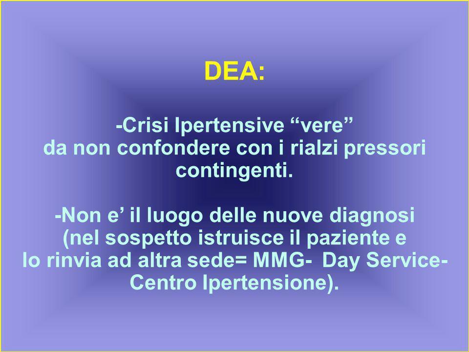 DEA: -Crisi Ipertensive vere da non confondere con i rialzi pressori contingenti.