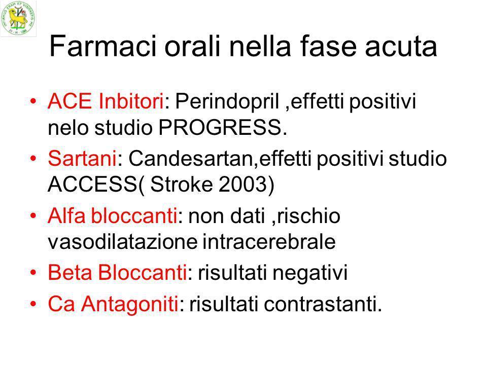 Farmaci orali nella fase acuta ACE Inbitori: Perindopril,effetti positivi nelo studio PROGRESS. Sartani: Candesartan,effetti positivi studio ACCESS( S