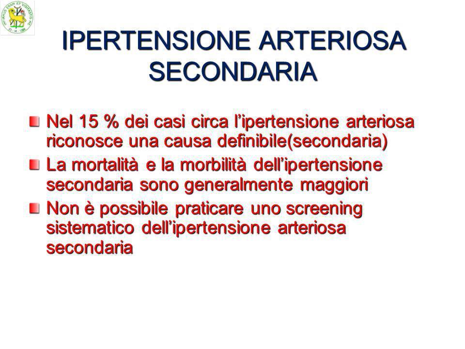 IPERTENSIONE ARTERIOSA SECONDARIA Nel 15 % dei casi circa lipertensione arteriosa riconosce una causa definibile(secondaria) La mortalità e la morbilità dellipertensione secondaria sono generalmente maggiori Non è possibile praticare uno screening sistematico dellipertensione arteriosa secondaria