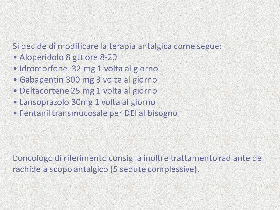 Si decide di impostare la terapia antalgica come segue: Ossicodone CR 40 mg cps, 1 cp ore 8-20 Morfina solfato 20 mg al bisogno se dolore (massimo 4 volte/die) alternato a ketorolac 30mg/ml 1 fl IM (massimo 1 volta/die) Bromazepam, 10 gtt ore 8-16-22