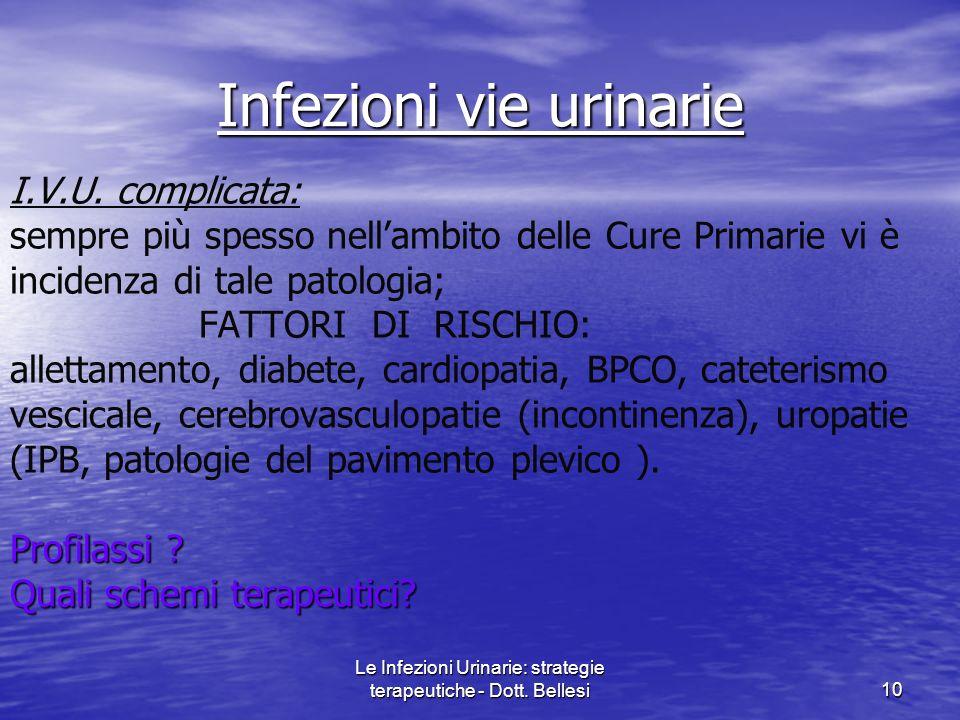Le Infezioni Urinarie: strategie terapeutiche - Dott. Bellesi10 I.V.U. complicata: sempre più spesso nellambito delle Cure Primarie vi è incidenza di
