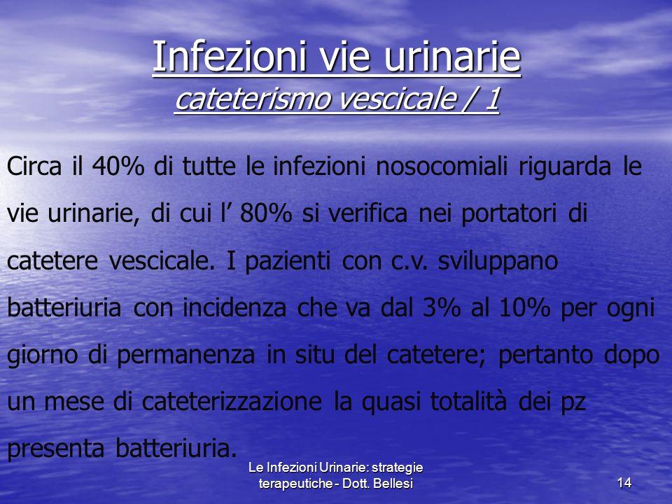 Le Infezioni Urinarie: strategie terapeutiche - Dott. Bellesi14 Infezioni vie urinarie cateterismo vescicale / 1 Circa il 40% di tutte le infezioni no