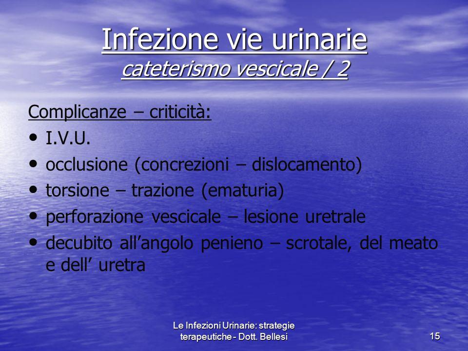 Le Infezioni Urinarie: strategie terapeutiche - Dott. Bellesi15 Complicanze – criticità: I.V.U. occlusione (concrezioni – dislocamento) torsione – tra