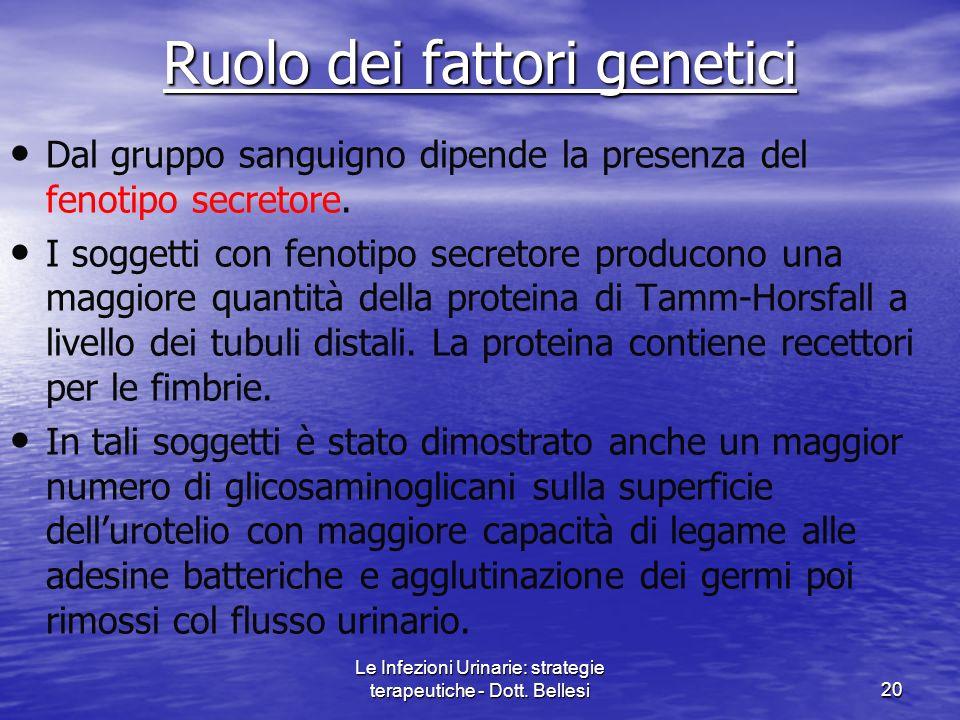 Le Infezioni Urinarie: strategie terapeutiche - Dott. Bellesi20 Ruolo dei fattori genetici Dal gruppo sanguigno dipende la presenza del fenotipo secre