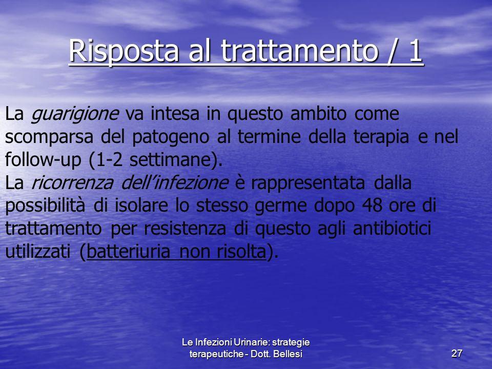 Le Infezioni Urinarie: strategie terapeutiche - Dott. Bellesi27 Risposta al trattamento / 1 La guarigione va intesa in questo ambito come scomparsa de