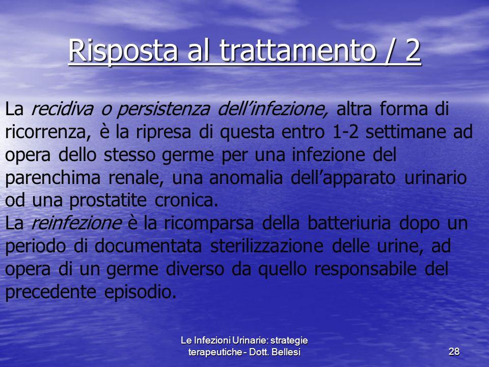 Le Infezioni Urinarie: strategie terapeutiche - Dott. Bellesi28 La recidiva o persistenza dellinfezione, altra forma di ricorrenza, è la ripresa di qu