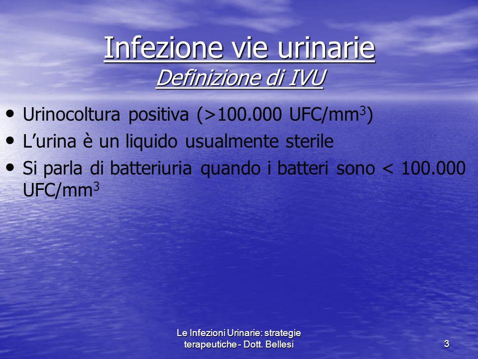 Le Infezioni Urinarie: strategie terapeutiche - Dott. Bellesi3 Infezione vie urinarie Definizione di IVU Urinocoltura positiva (>100.000 UFC/mm 3 ) Lu