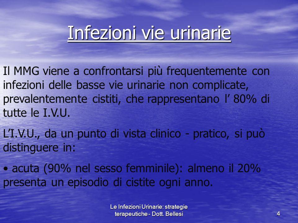 Le Infezioni Urinarie: strategie terapeutiche - Dott. Bellesi4 Infezioni vie urinarie Il MMG viene a confrontarsi più frequentemente con infezioni del