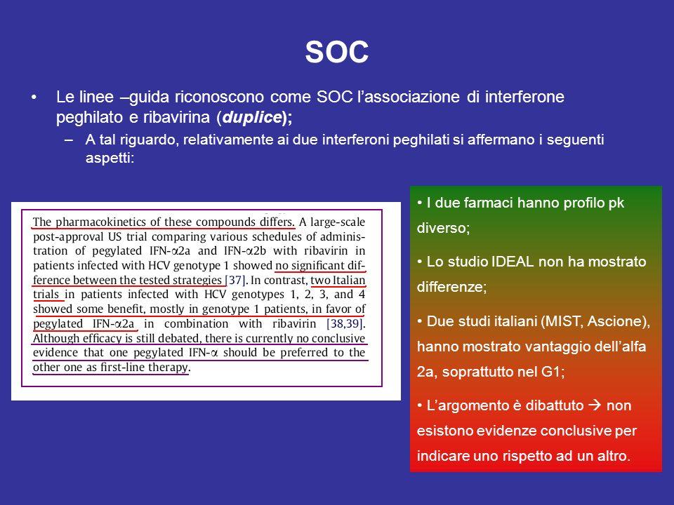 SOC Le linee –guida riconoscono come SOC lassociazione di interferone peghilato e ribavirina (duplice); –A tal riguardo, relativamente ai due interfer