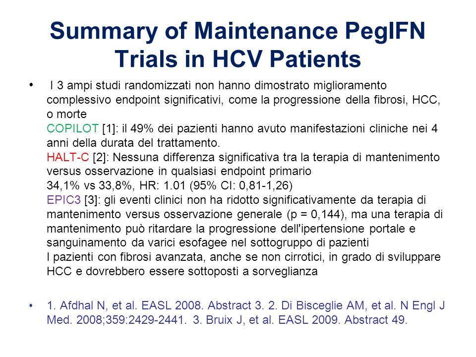 Summary of Maintenance PegIFN Trials in HCV Patients I 3 ampi studi randomizzati non hanno dimostrato miglioramento complessivo endpoint significativi