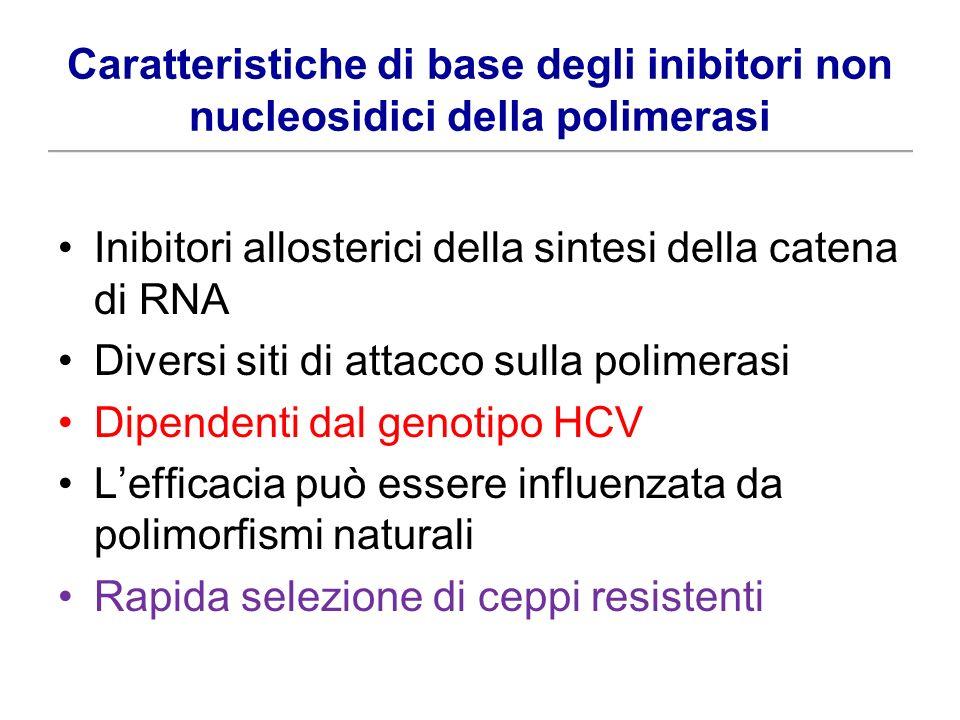 Caratteristiche di base degli inibitori non nucleosidici della polimerasi Inibitori allosterici della sintesi della catena di RNA Diversi siti di atta