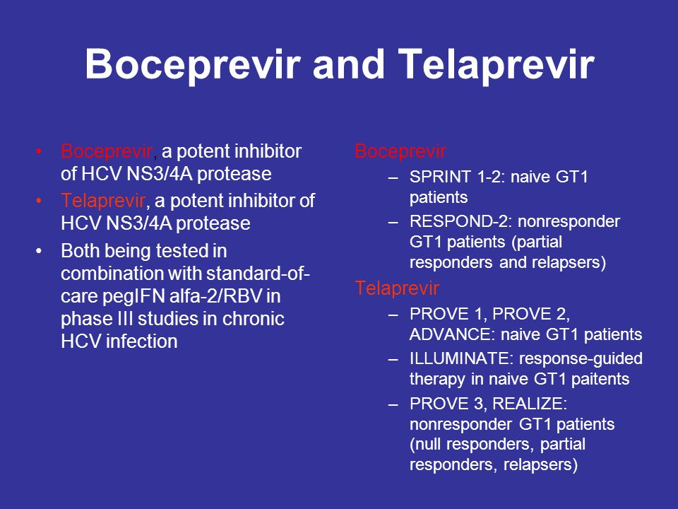 Boceprevir and Telaprevir Boceprevir, a potent inhibitor of HCV NS3/4A protease Telaprevir, a potent inhibitor of HCV NS3/4A protease Both being teste