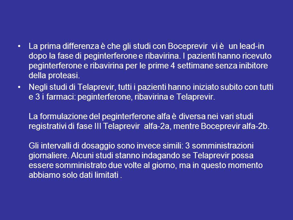 Somiglianze e differenze La prima differenza è che gli studi con Boceprevir vi è un lead-in dopo la fase di peginterferone e ribavirina. I pazienti ha