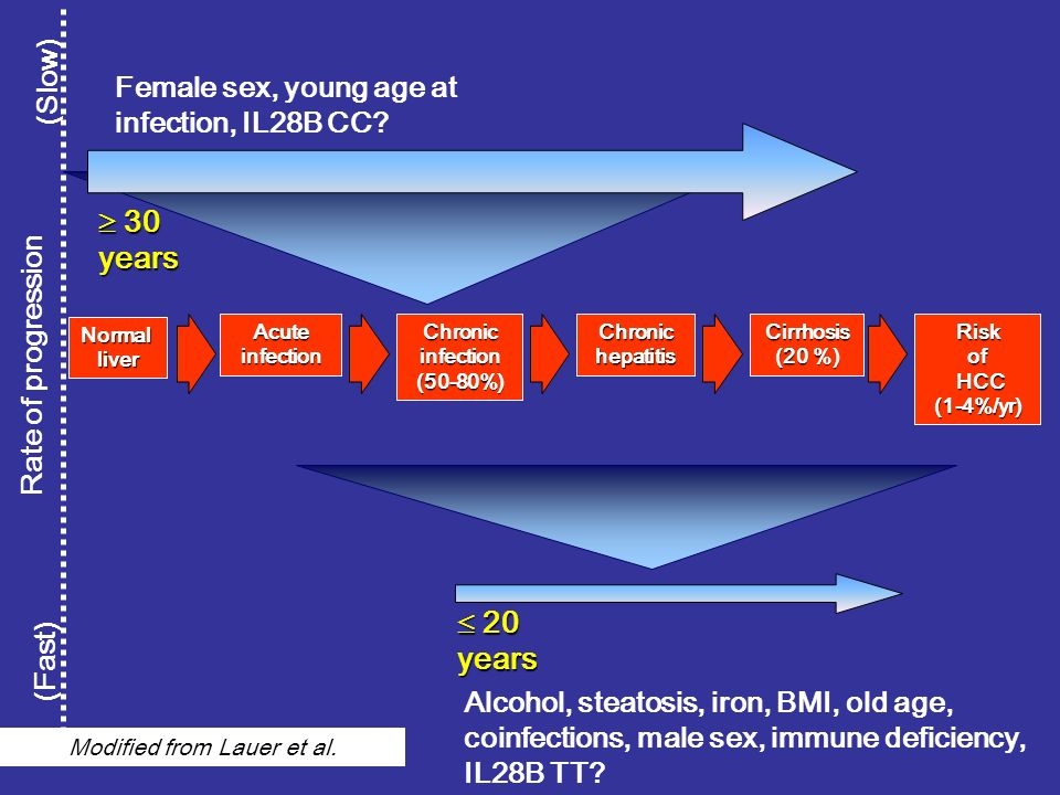 Female sex, young age at infection, IL28B CC? (Fast) (Slow) Rate of progression Normalliver AcuteinfectionChronicinfection(50-80%)ChronichepatitisCirr