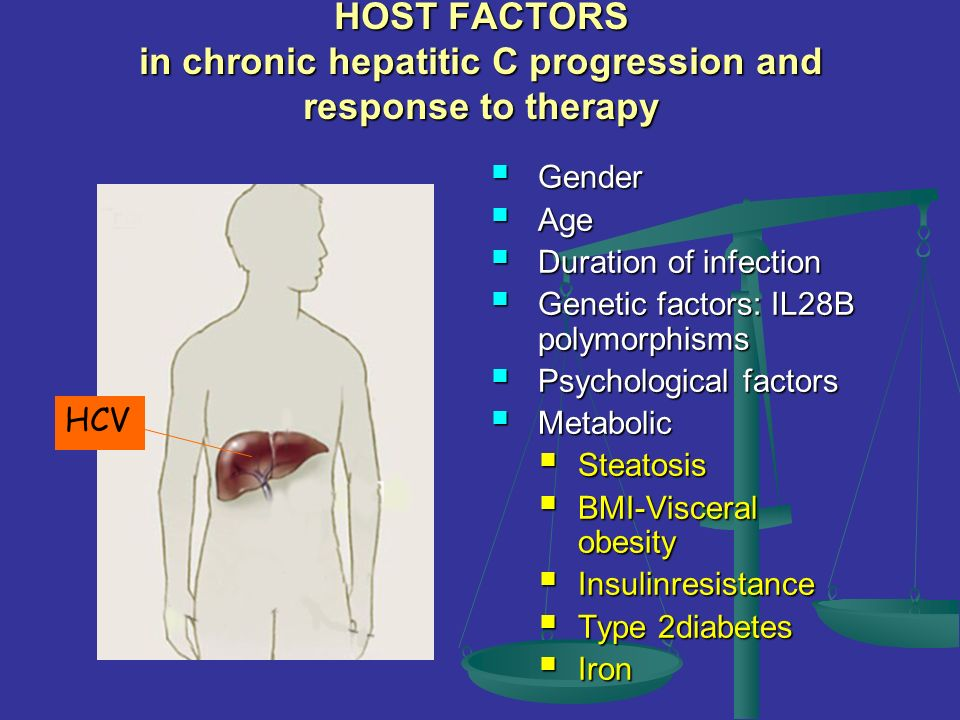 HOST FACTORS in chronic hepatitic C progression and response to therapy Gender Gender Age Age Duration of infection Duration of infection Genetic fact