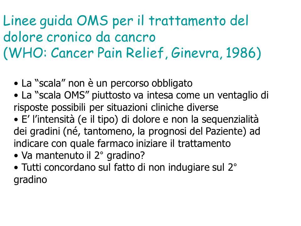 Linee guida OMS per il trattamento del dolore cronico da cancro (WHO: Cancer Pain Relief, Ginevra, 1986) La scala non è un percorso obbligato La scala