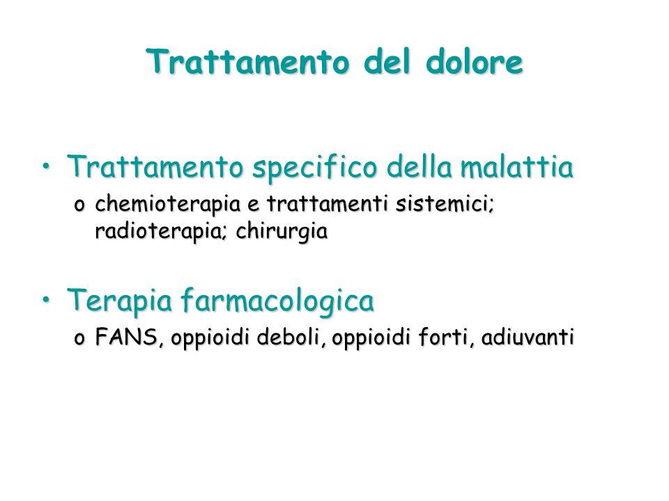 Trattamento del dolore Trattamento specifico della malattiaTrattamento specifico della malattia ochemioterapia e trattamenti sistemici; radioterapia;