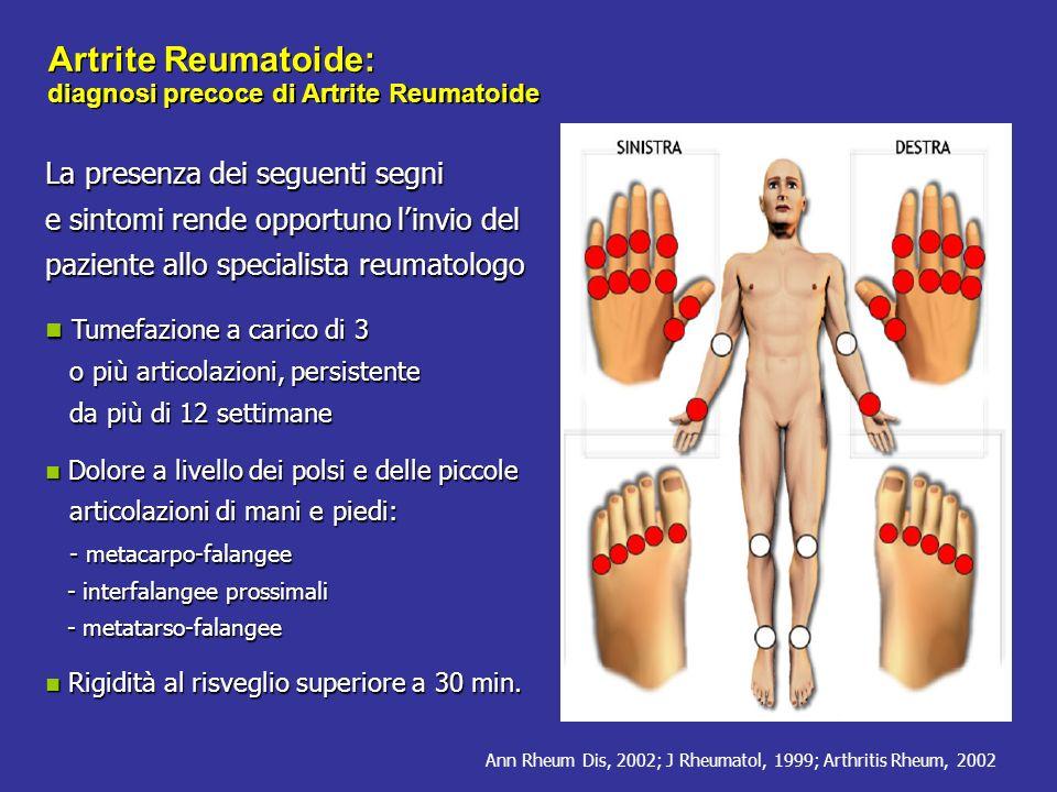 ACR/EULAR CLASSIFICATION CRITERIA FOR RA Other classification criteria of definite RA I criteri sono disegnati per la classificazione di pazienti alla prima valutazione tuttavia Possono essere classificati come AR anche pazienti con malattia erosiva tipica per artrite reumatoide con una anamnesi compatibile con i criteri 2010 Possono essere classificati come AR anche i pazienti con malattia di lunga durata, compresi quelli con malattia inattiva (con o senza trattamento), che, sulla base di dati retrospettivi, abbiano precedentemente soddisfatto i criteri 2010