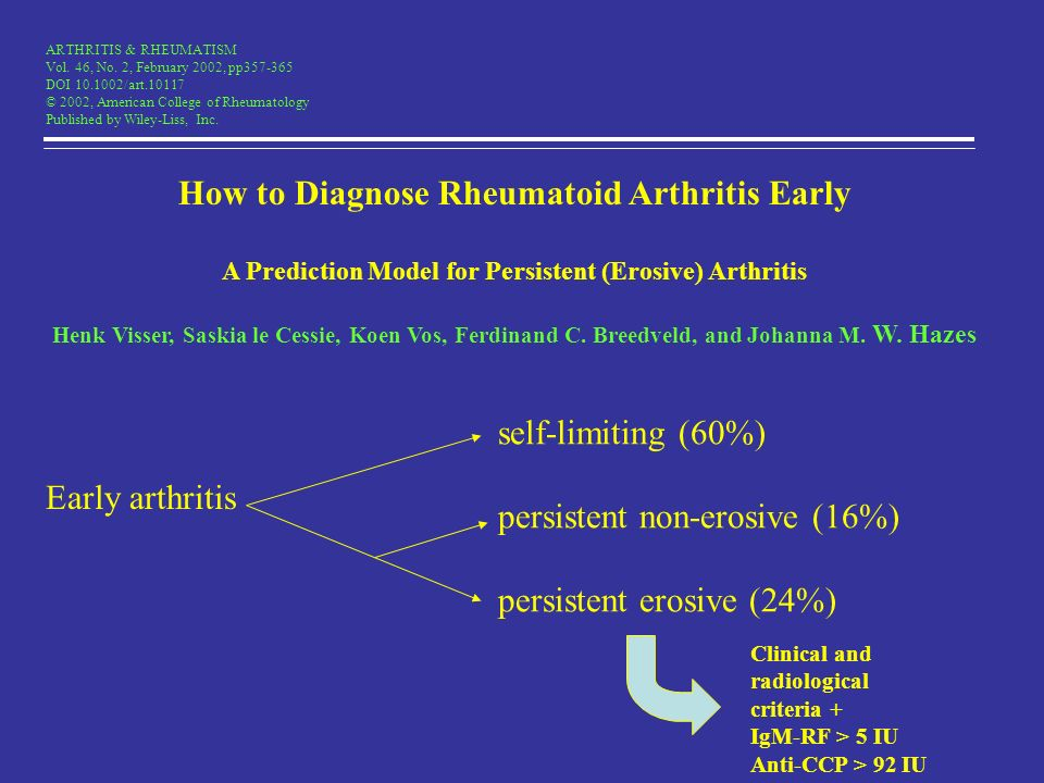 ARTHRITIS & RHEUMATISM Vol. 46, No. 2, February 2002, pp357-365 DOI 10.1002/art.10117 © 2002, American College of Rheumatology Published by Wiley-Liss
