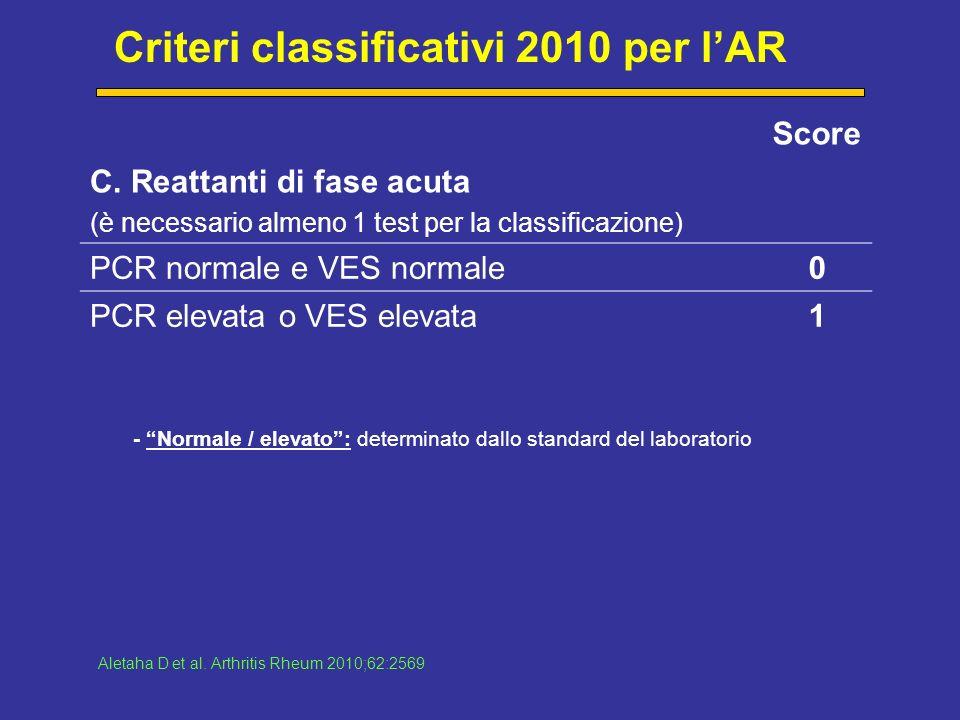 Criteri classificativi 2010 per lAR Score C.