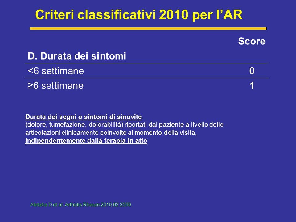 Criteri classificativi 2010 per lAR Score D.