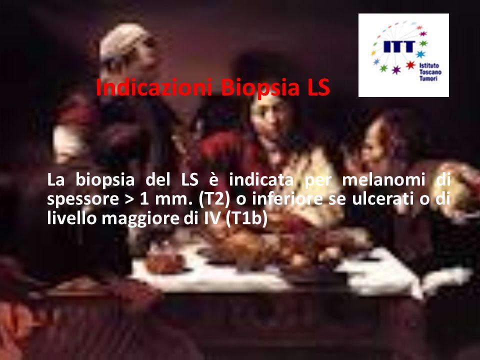 Indicazioni Biopsia LS La nuova classificazione TNM non considera più gli stadi di Clark ma prende in considerazione il numero di mitosi