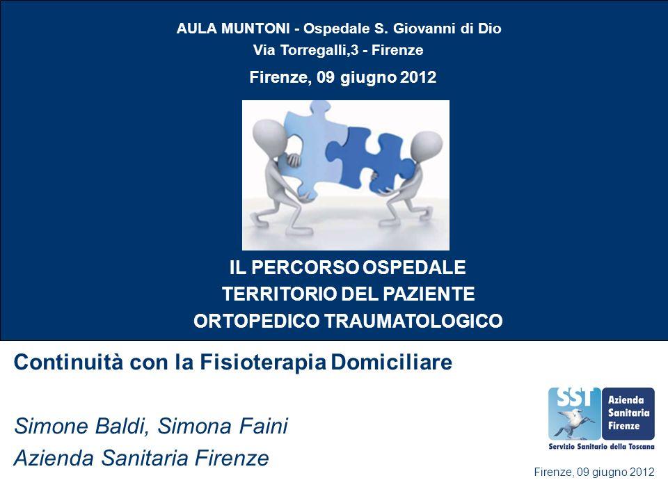 Continuità con la Fisioterapia Domiciliare Simone Baldi, Simona Faini Azienda Sanitaria Firenze Firenze, 09 giugno 2012 AULA MUNTONI - Ospedale S. Gio