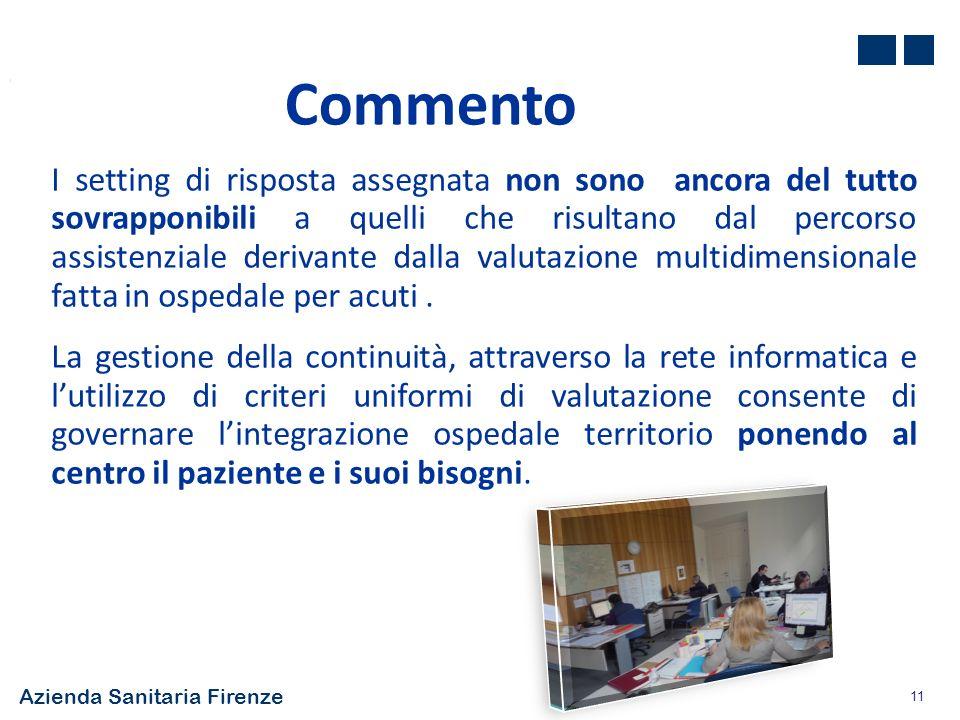 Azienda Sanitaria Firenze 11 Commento I setting di risposta assegnata non sono ancora del tutto sovrapponibili a quelli che risultano dal percorso ass